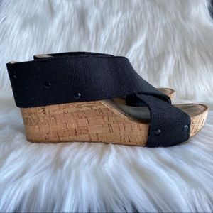 Lucky Brand Shoes - Lucky Brand Black Cork Wedge Sandal Open Toe 6.5
